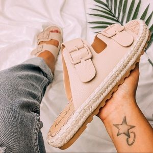 Shoes - I Can't | Nude Pink Espadrille Sandals